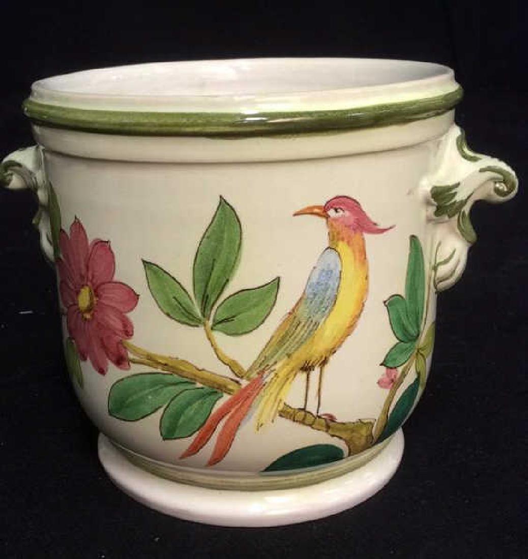 Italian Hand Painted Ceramic Cache Pot - 4