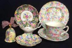 Group Lot English Chintz Porcelain Table top