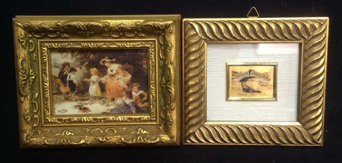 2 Miniature Carved Gold Leafed Framed Prints
