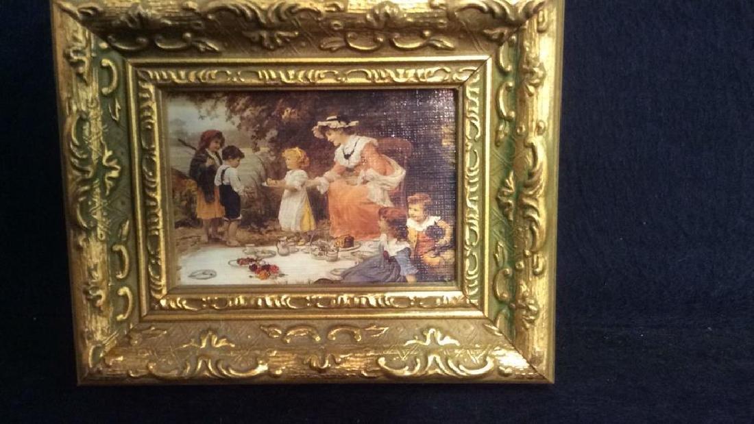 2 Miniature Carved Gold Leafed Framed Prints - 3
