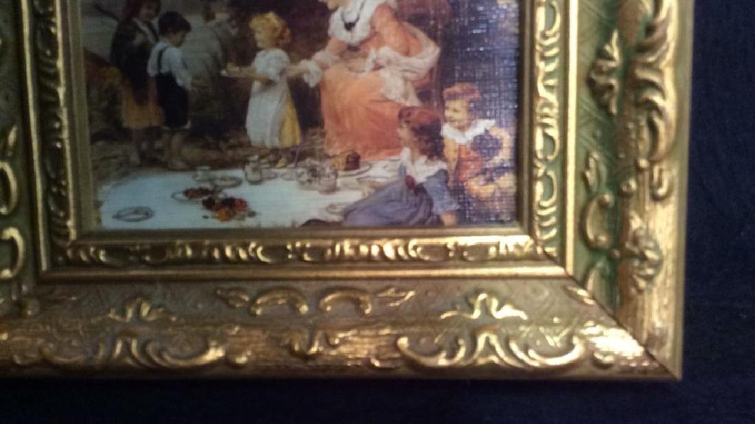 2 Miniature Carved Gold Leafed Framed Prints - 4