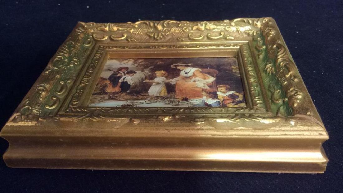 2 Miniature Carved Gold Leafed Framed Prints - 6
