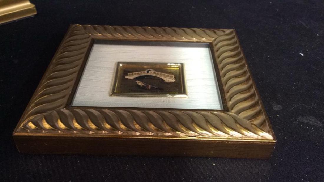 2 Miniature Carved Gold Leafed Framed Prints - 7
