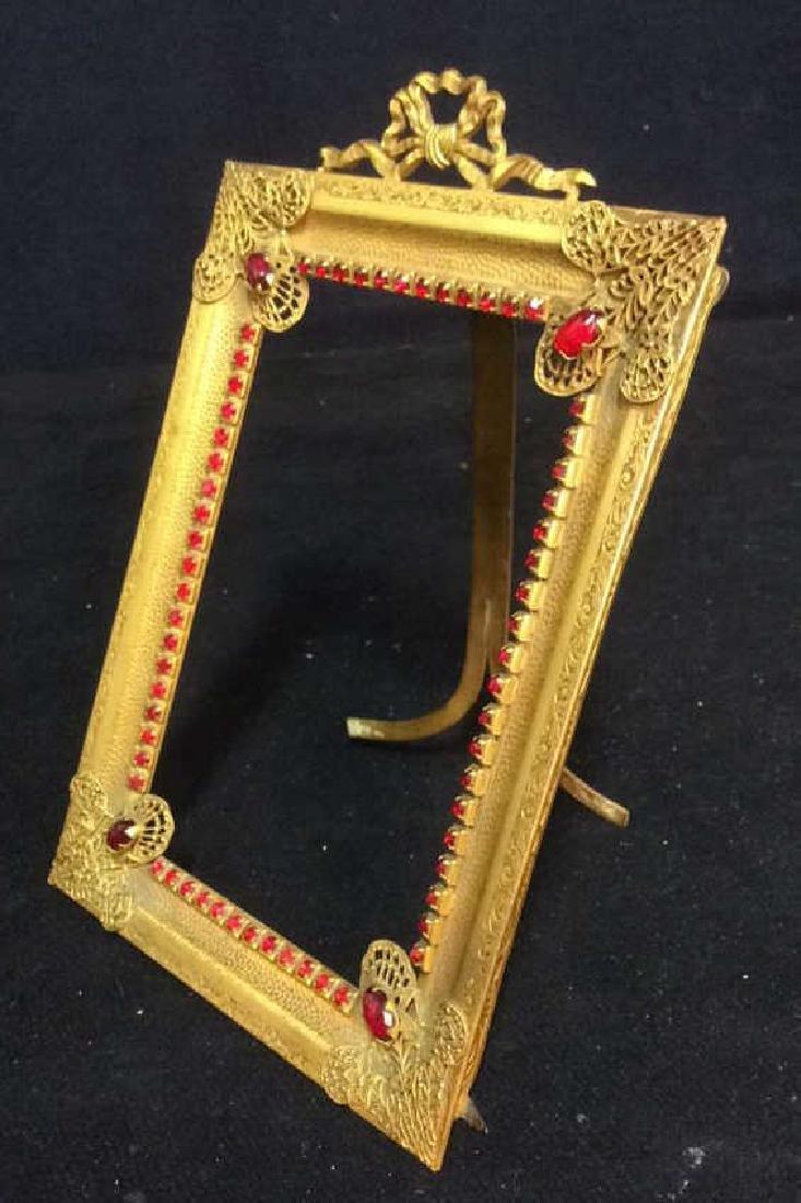 Antique Gilded teal Picture Frame, gilded metal,