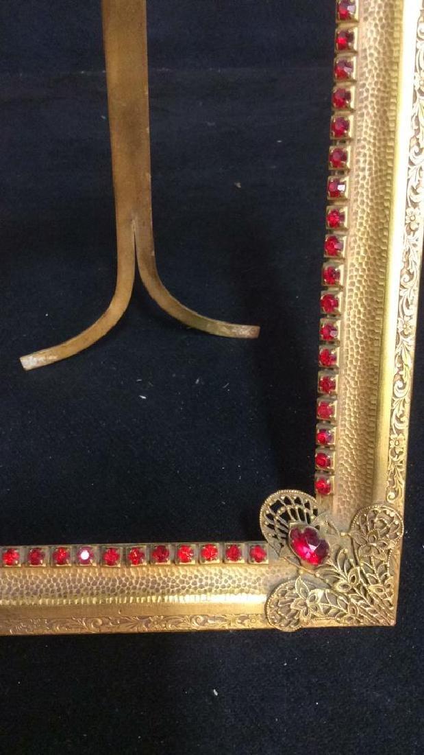 Antique Gilded teal Picture Frame, gilded metal, - 5