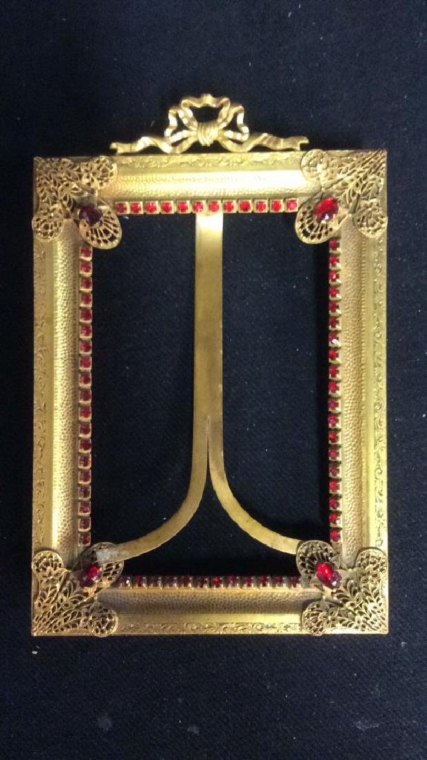 Antique Gilded teal Picture Frame, gilded metal, - 6