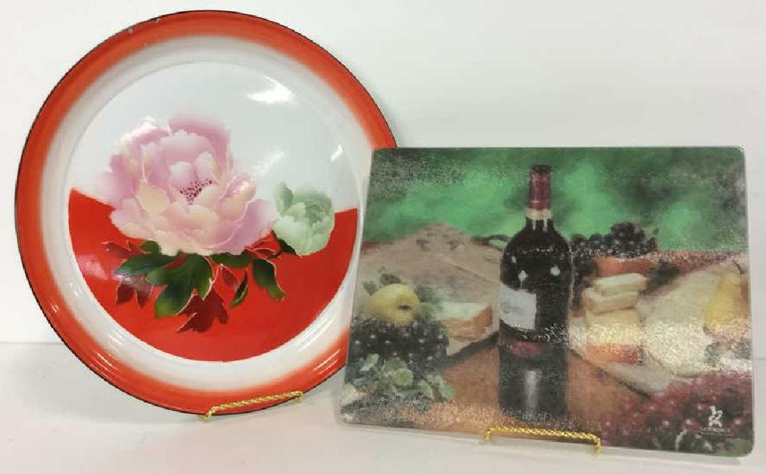Pair Decorative Metal and Glass Trays