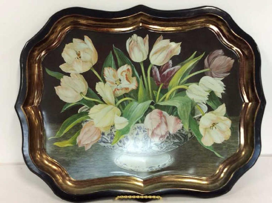 Lot 2 Decorative Floral Design Metal Trays - 2
