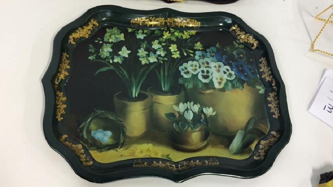 Lot 2 Decorative Floral Design Metal Trays - 3