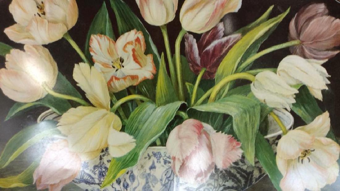 Lot 2 Decorative Floral Design Metal Trays - 4