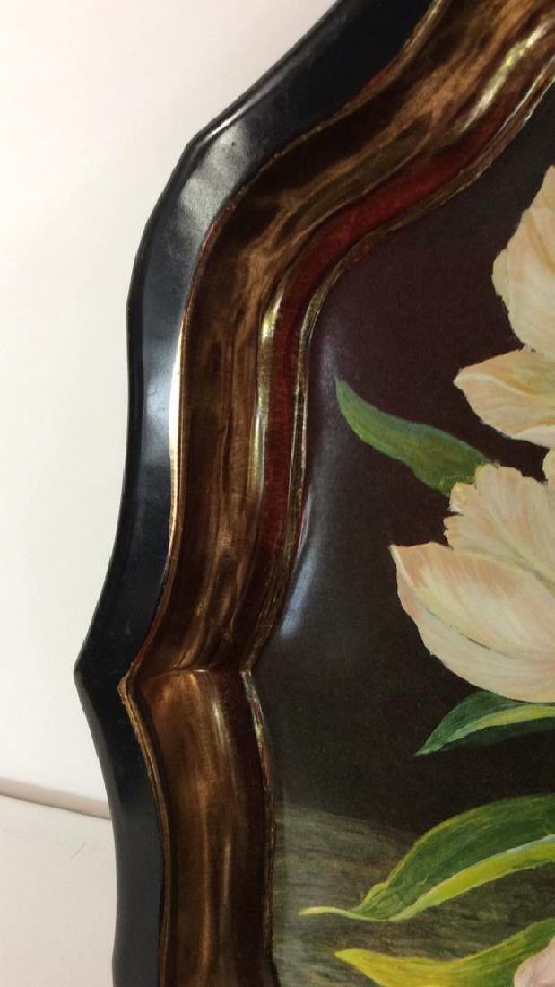Lot 2 Decorative Floral Design Metal Trays - 6