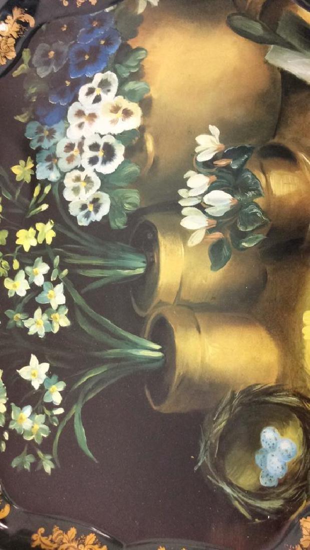 Lot 2 Decorative Floral Design Metal Trays - 7