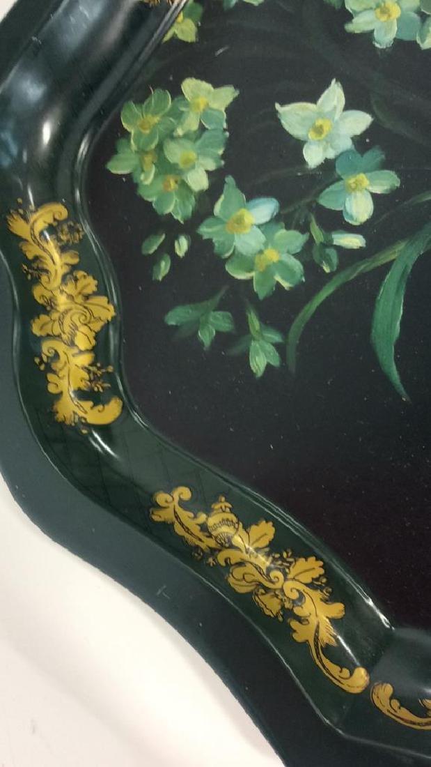 Lot 2 Decorative Floral Design Metal Trays - 8