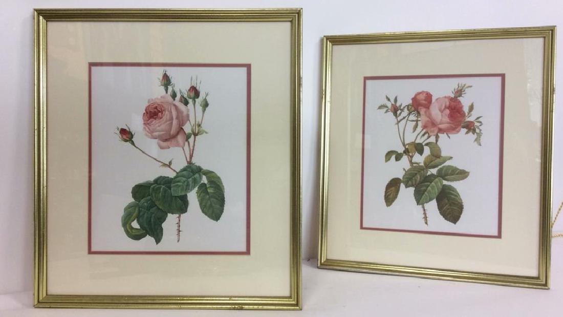 Lot 2 Framed & Matted Floral Prints