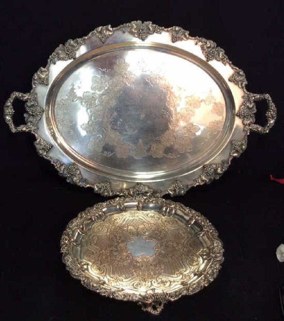 Pair Ornate Silver Plate Decorate Trays