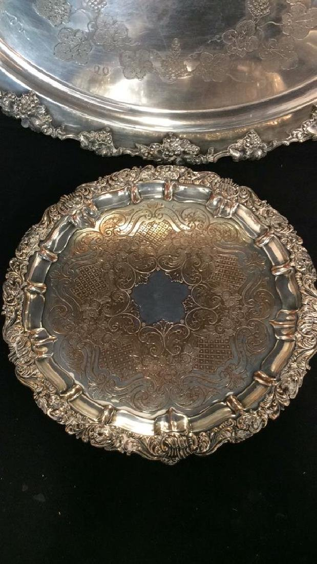 Pair Ornate Silver Plate Decorate Trays - 2