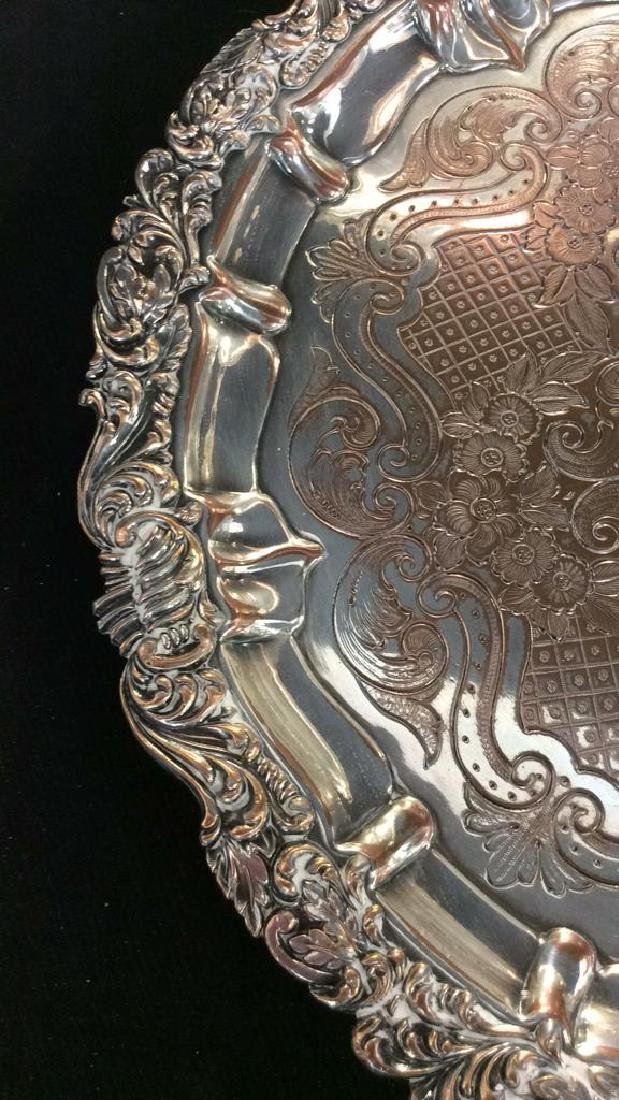 Pair Ornate Silver Plate Decorate Trays - 3