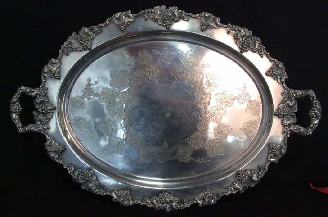 Pair Ornate Silver Plate Decorate Trays - 6