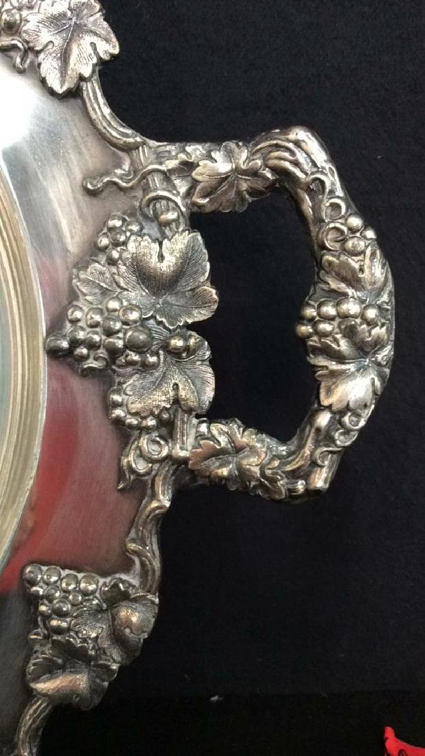 Pair Ornate Silver Plate Decorate Trays - 7