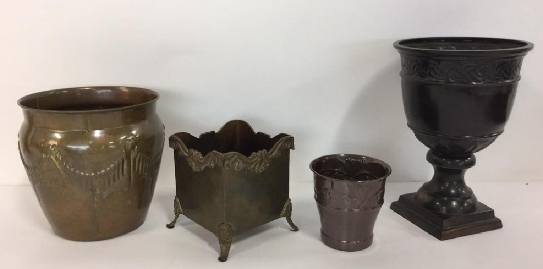 Lot 4 Metal Planter Pots With Repousse Design