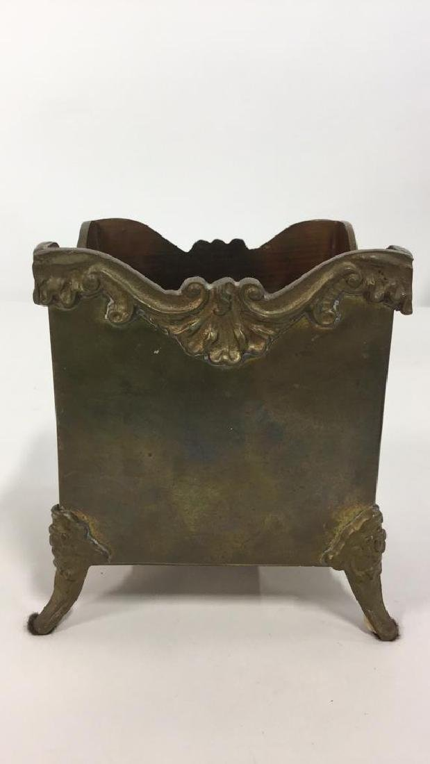 Lot 4 Metal Planter Pots With Repousse Design - 5