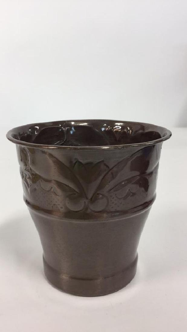 Lot 4 Metal Planter Pots With Repousse Design - 7
