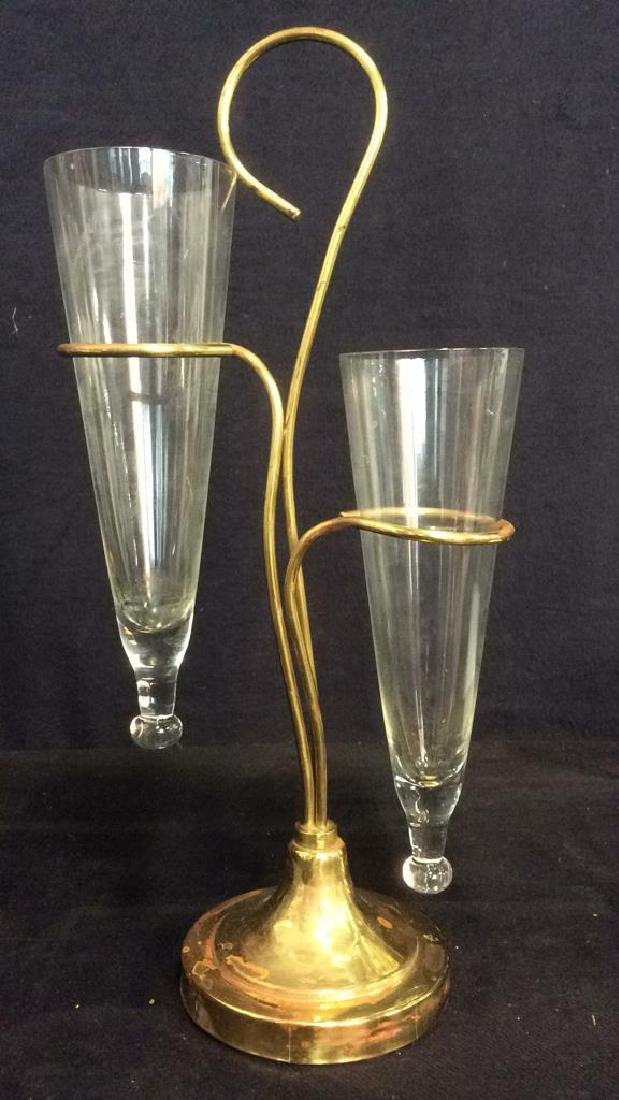 2 Arm Gold Toned Metal & Glass Vase