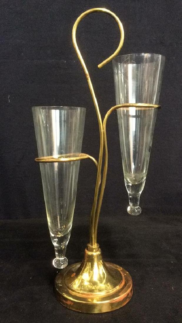 2 Arm Gold Toned Metal & Glass Vase - 2