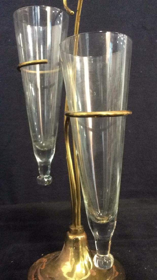 2 Arm Gold Toned Metal & Glass Vase - 8