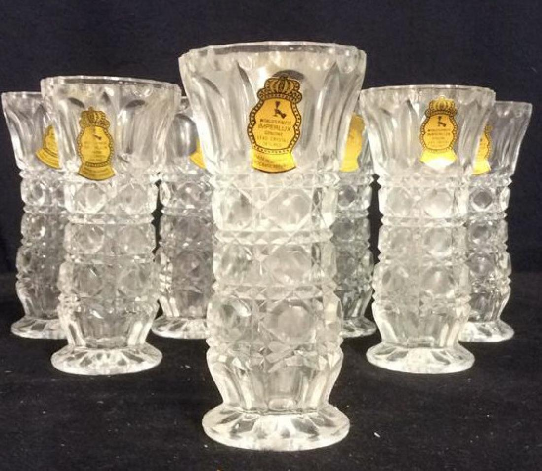 Lot 8 IMPERLUX Cut Crystal Vases w Boxes