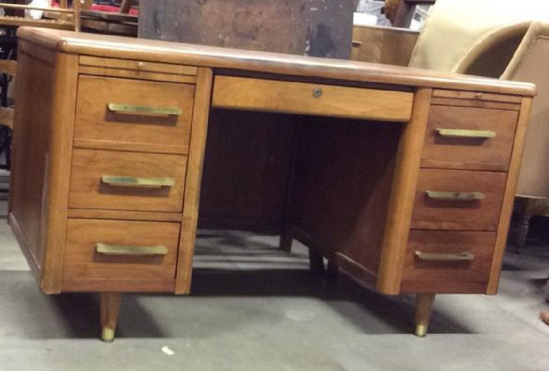 Mid Century Modern Wood Brass Footed Desk - 10