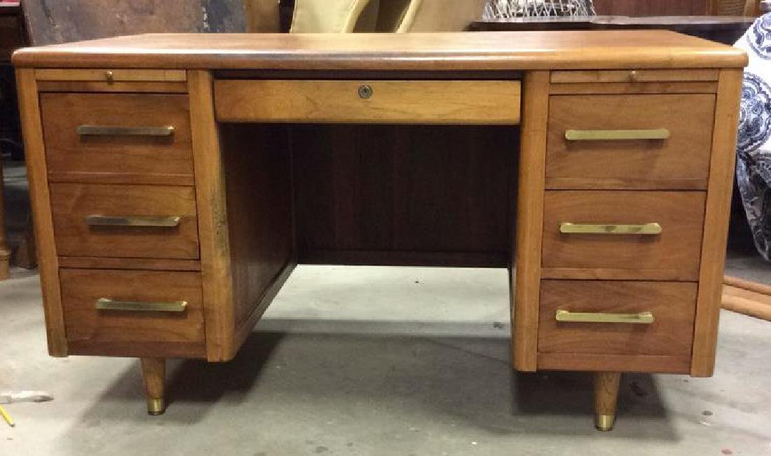 Mid Century Modern Wood Brass Footed Desk