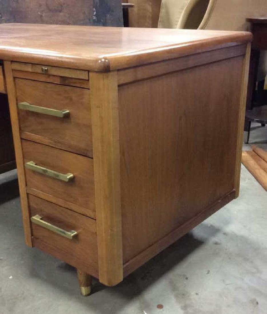 Mid Century Modern Wood Brass Footed Desk - 3