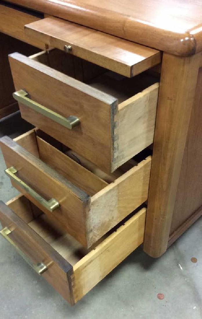 Mid Century Modern Wood Brass Footed Desk - 4