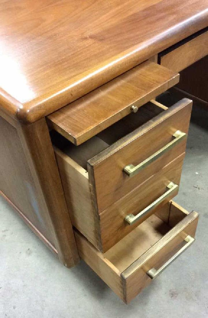 Mid Century Modern Wood Brass Footed Desk - 5