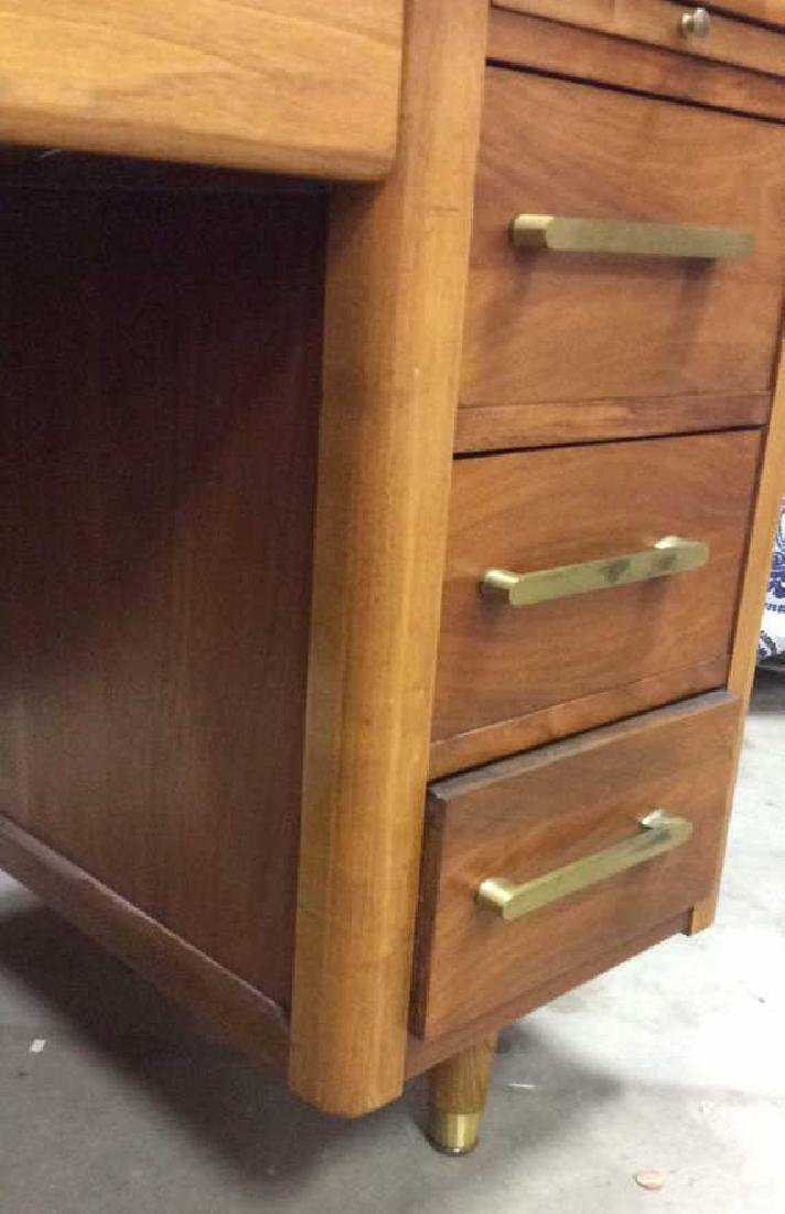 Mid Century Modern Wood Brass Footed Desk - 7