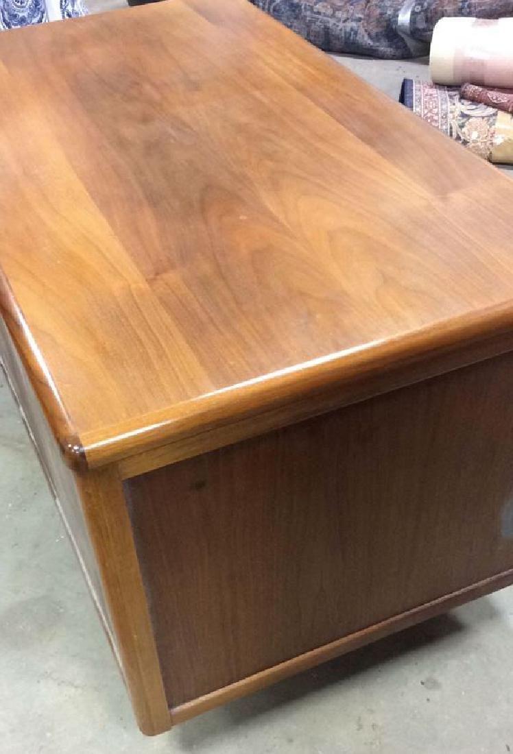 Mid Century Modern Wood Brass Footed Desk - 8