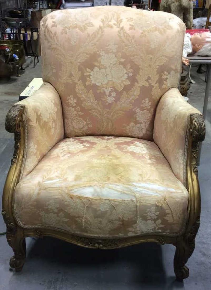 Vintage Floral Detailed Upholstered Gold Armchair