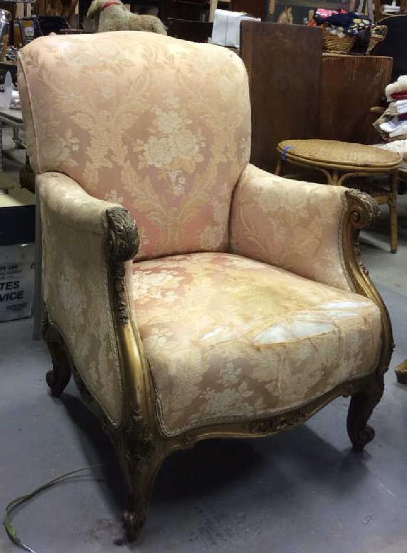 Vintage Floral Detailed Upholstered Gold Armchair - 3