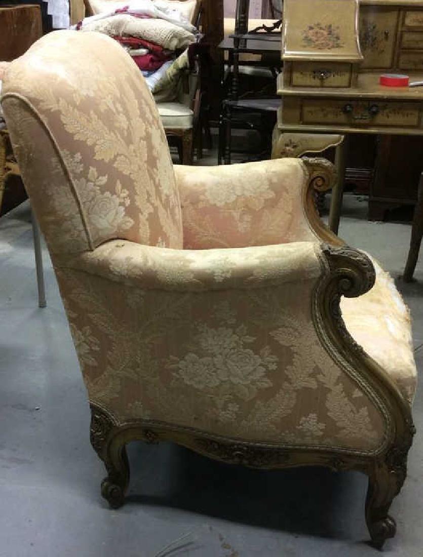 Vintage Floral Detailed Upholstered Gold Armchair - 4