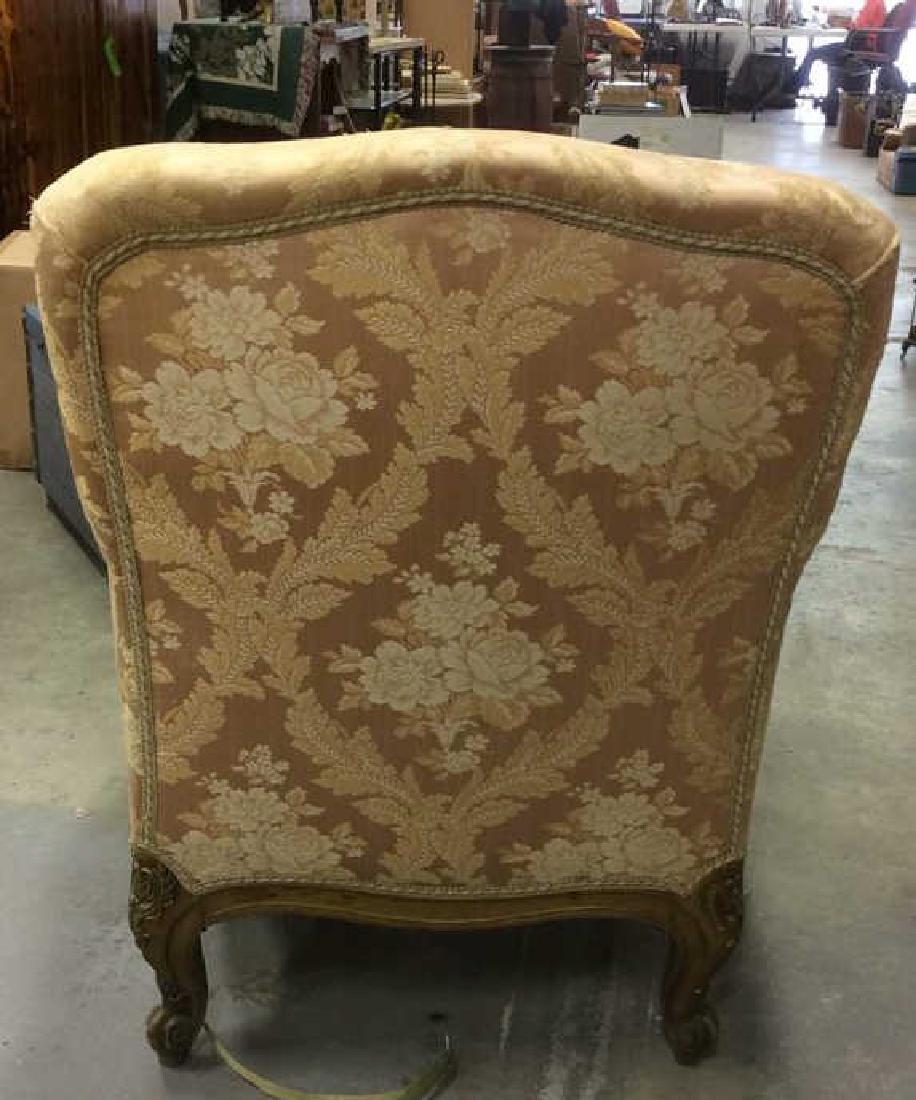 Vintage Floral Detailed Upholstered Gold Armchair - 6