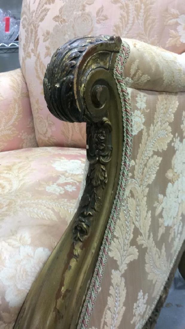 Vintage Floral Detailed Upholstered Gold Armchair - 7