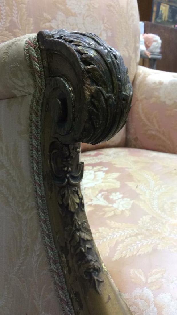 Vintage Floral Detailed Upholstered Gold Armchair - 8