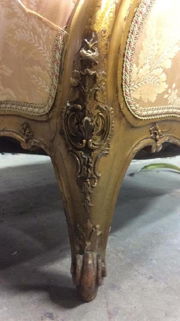 Vintage Floral Detailed Upholstered Gold Armchair - 9
