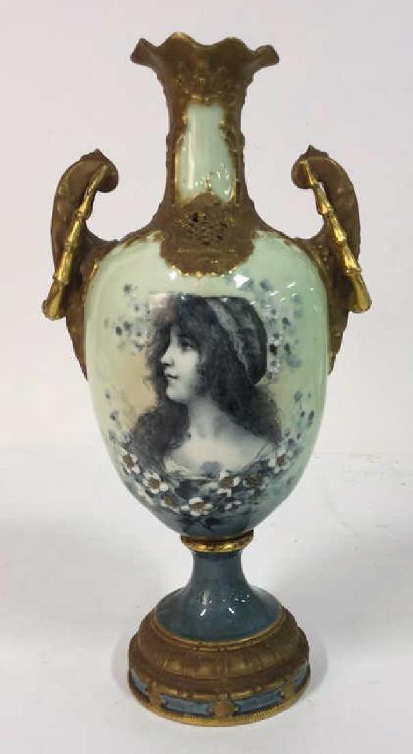 Antique German Signed Porcelain Urn Vase - 2