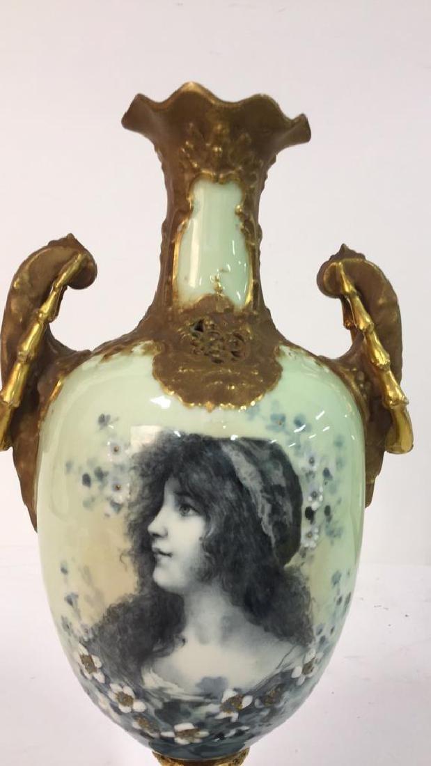 Antique German Signed Porcelain Urn Vase - 4