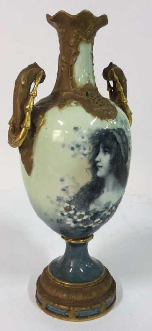 Antique German Signed Porcelain Urn Vase - 5