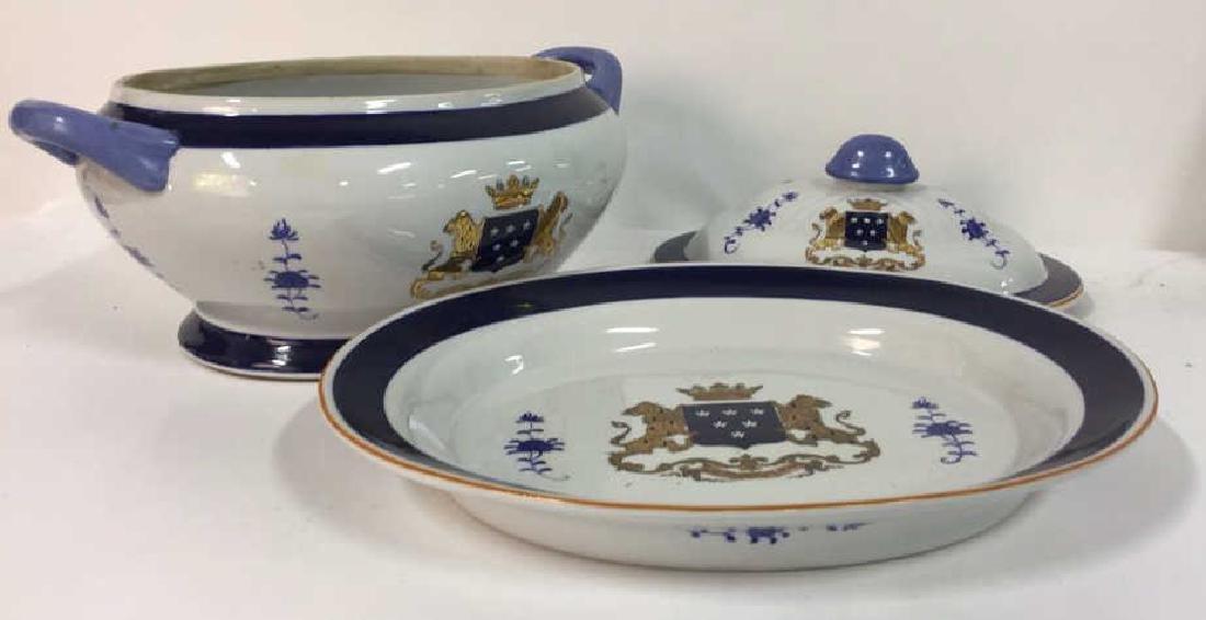 3 Pcs Lidded Tureen w Underplate Ceramic - 3