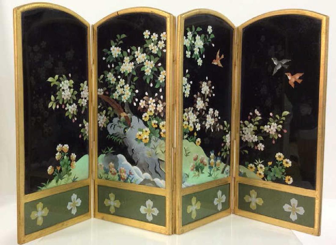 Vintage Japanese Enamel Cloisonné Folding Screen