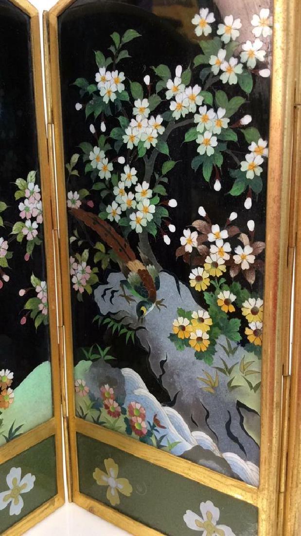 Vintage Japanese Enamel Cloisonné Folding Screen - 2